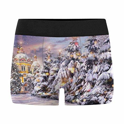 InterestPrint Custom Men's Boxer Briefs Christmas Trees in Snowfall S by InterestPrint