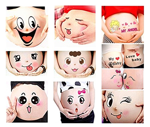 Kinteshun Photo Booth Props for Expectant Mothers,Pregnancy Facial Expressions Sticker Pregnant Women Baring Belly Bump Paster Unborn Baby Photographying Props(12 Sheets with Different Expressions)