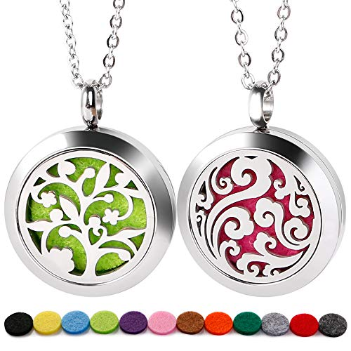 RoyAroma 2PCS Mini Cloud & Tree of Life Aromatherapy Essential Oil Diffuser Necklace Two Patterns Pendant Locket Jewelry,23.6