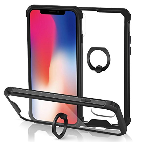 Clear iPhone X Case, iPhone 10 Case, Crystal Clear Case with Ring Holder Kickstand Ultra Slim Shock Absorption TPU Bumper Protective Cover Case for Apple iPhone X