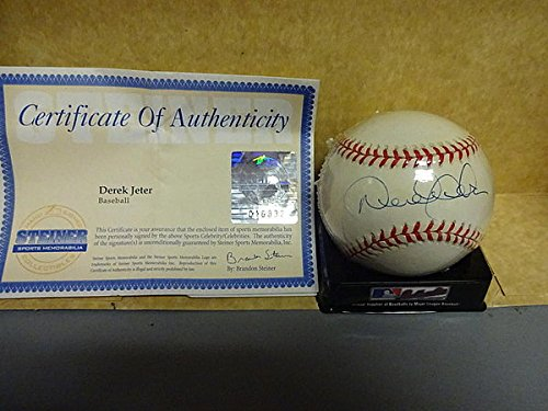 Derek Jeter Yankees Autographed A.L. Baseball Steiner Early Signature - Autographed MLB (Steiner Derek Jeter Signature Baseball)