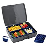 Laptop Lunches Bento-ware Bento Lunch Box with BPA-Free, Leak-proof Containers, Gray/Blue (L600-grayblu)