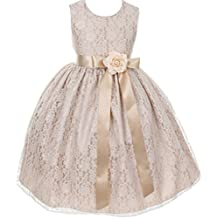 Little Girls Champagne Dress Lace Custom Ribbon Flowers Girls Dresses