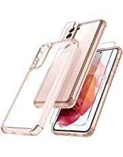 TOCOL 3 in 1 Designed for Samsung Galaxy S21 Case 5G 6.2 inch - with 2 Pack Tempered Glass Screen Protector + 2 Pack Camera Lens Protector Military Grade Protection Shockproof Slim Thin Stylish Cover