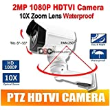 2MP CMOS HD-TVI MINI PTZ BULLET Security CAMERA 10X OPTICAL ZOOM 1080P 5.1-51mm LENS IP66, BNC Output, 12VDC, For TVI DVR ONLY