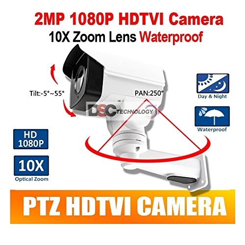 - 2MP CMOS HD-TVI MINI PTZ BULLET Security CAMERA 10X OPTICAL ZOOM 1080P 5.1-51mm LENS IP66, BNC Output, 12VDC, For TVI DVR ONLY