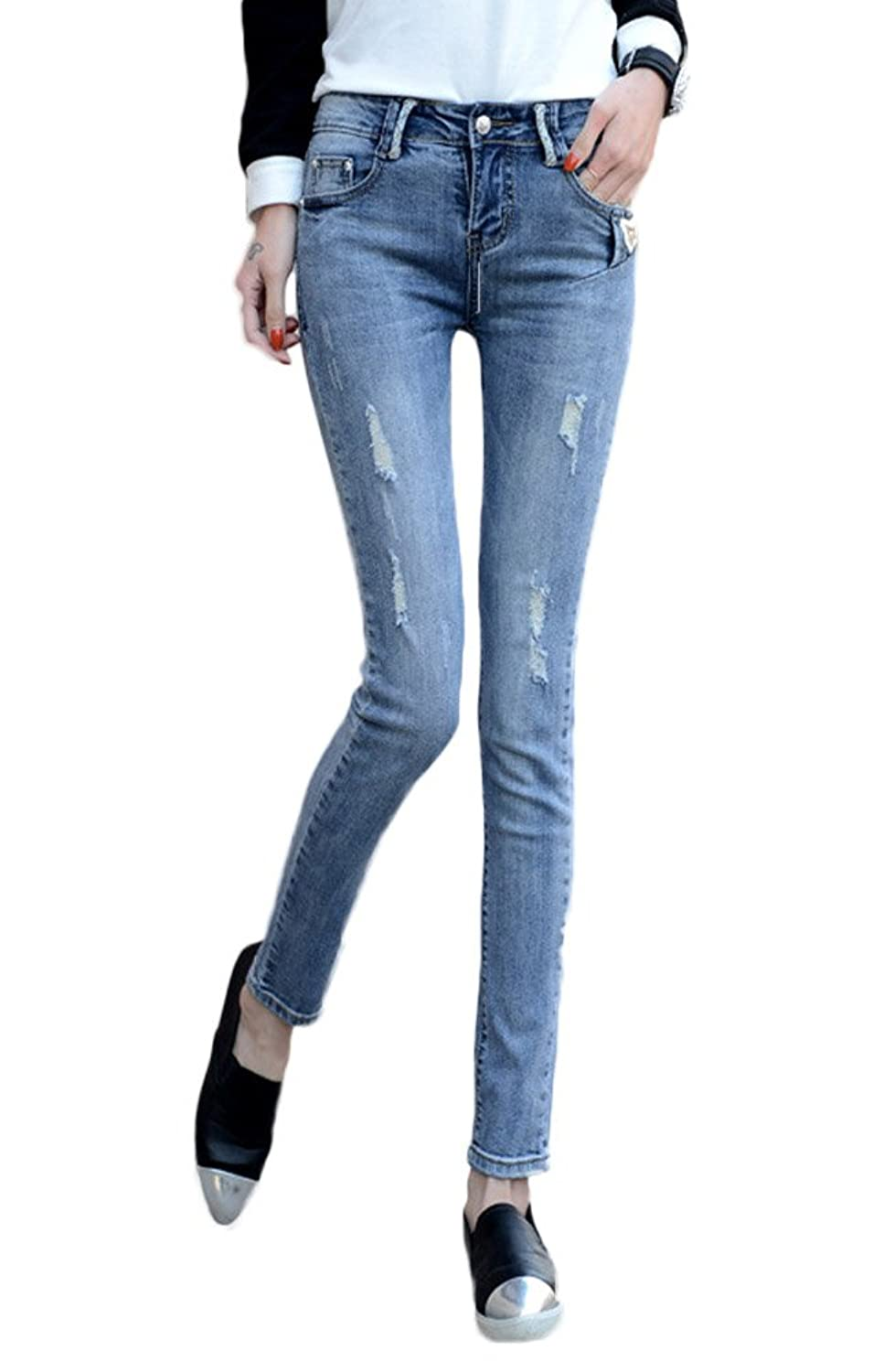 Tidecloth Women's Slim Stretchy Skinny Leg Mid Rise Ripped Denim Jeans Blue 27
