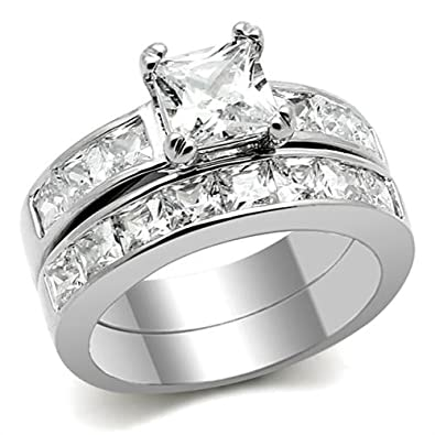 Stainless Steel Tusk 316 Clear Princess Cut Cz Engagement Wedding Ring Sets For Women