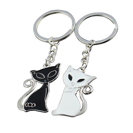 Nikgic 1pair Llavero de gatos blanco y negro Llavero para ...