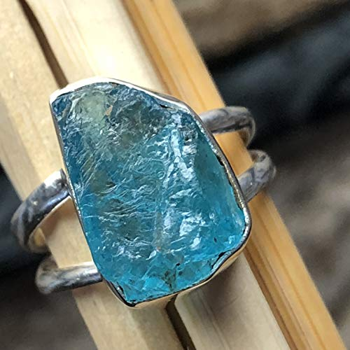 - Genuine Neon Blue Apatite 925 Solid Sterling Silver Cluster Ring sz 7