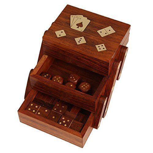 Christmas Gift 3 in 1 Standard Playing Cards Holder Single Deck with Dominoes 28 Tiles & 5 Dice Set Sliding Wooden Game Accessories Storage Box Fine Ace Brass Inlay 1 Available Single Deck