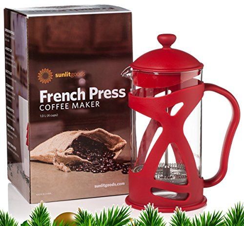 French Coffee Press and Loose Leaf Tea Brewer, Red (8 Cup, 34 oz) with Heat-Resistant Glass, includes 2 Stainless Steel Filters and Spoon