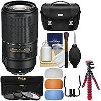 Nikon 70-300mm f/4.5-5.6E VR AF-P ED Zoom-Nikkor Lens with 3 UV/CPL/ND8 Filters + Case + Flex Tripod + Kit