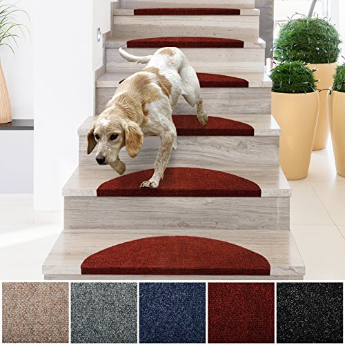 casa pura Stair Treads | Non-Slip Indoor Stair Protectors | Set of 15 Modern Step Mats for Hard Floor Staircase | Red - 10