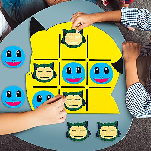 Ticiaga Pikachu Thick Felt Tic Tac Toe Game for Kids, Connect 3 Strategy Board Game With Squirtle and Snorlax Pieces for Indoor Outdoor Play, Pikachu Theme Party Game Activity, Party Favor Supplies