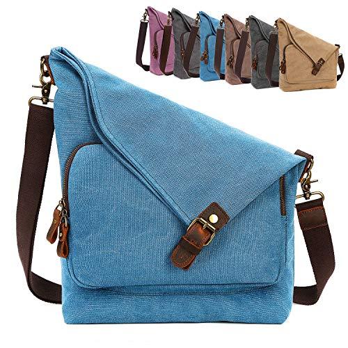AmHoo Canvas Crossbody Bag for Women Genuine Leather Messenger Purse Handbags Shoulder Bag Hobo Totes Unisex,Blue