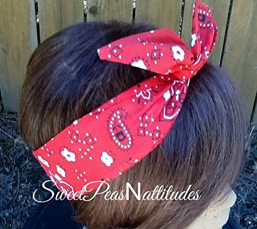 Wired Headband Dolly Bow Red Handkerchief Bandana Print Wired Dolly bow Rockabilly Wire Scarf Headband