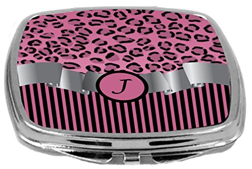 - Rikki Knight Compact Mirror, Letter j Initial Light Pink Leopard Stripes Monogram