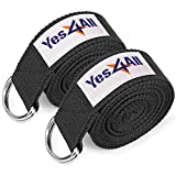 (US) Yes4All Exercise Yoga Strap 8 feet with D-Ring Buckle for Stretching, Flexibility and Physical Therapy – Yoga Belt Strap Cotton (Black, Set of 2)