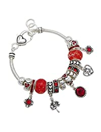 Rosemarie Collections Women's Birth Month Birthstone Bead Charm Bracelet