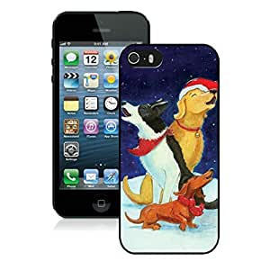 New Design Iphone 5S Protective Cover Case Christmas Dog iPhone 5 5S TPU Case 42 Black