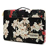 DACHEE Black Peony Pattern Waterproof Laptop Sleeve Bag case with Pockets and Handle for 15 inch 15.6 inch Laptop