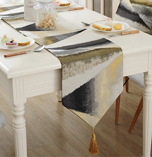 ZebraSmile Jacquard Oil Painting Table Runners with Tassels Striped Polyester Table Runners for Dining Table Deccoration 13 X 64 Inch by ZebraSmile