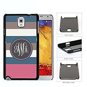 Blue Brown And Pink Stripe Monogram (Custom Initials) Hard Plastic Snap On Cell Phone Case Samsung Galaxy Note 3 III N9000 N9002 N9005