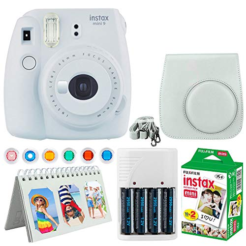 Fujifilm Instax Mini 9 Instant Camera (Smokey White) + Fujifilm Instax Mini Twin Pack Instant Film (20 Exposures) + Camera Case + Scrapbooking Album + 4 AA Batteries & Charger + Colored Lens Filters