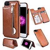 Wallet Case for iPhone 8 Plus,iPhone 7 Plus Case,Brown PU Leather Stand Case,Ostop Credit Card Holder Zipper Purse Slim Fit Magnetic Clasp Flip Folio Cover with Cash Pocket Soft TPU Bumper Shell