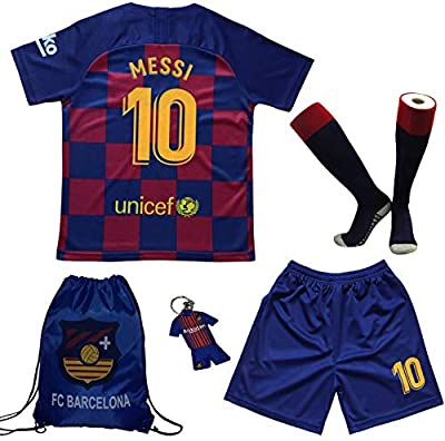 BIRDBOX Youth Sportswear Barcelona Leo Messi 10 Kids Home Soccer Jersey/Shorts Bag Keychain Football Socks Set (Home (New), 5-6 Years)