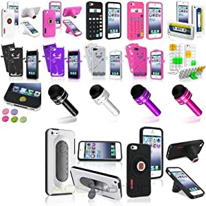 Colorful Stylish Design Silicone Case+Dust Cap Pen+Sticker For iPhone 5 5S