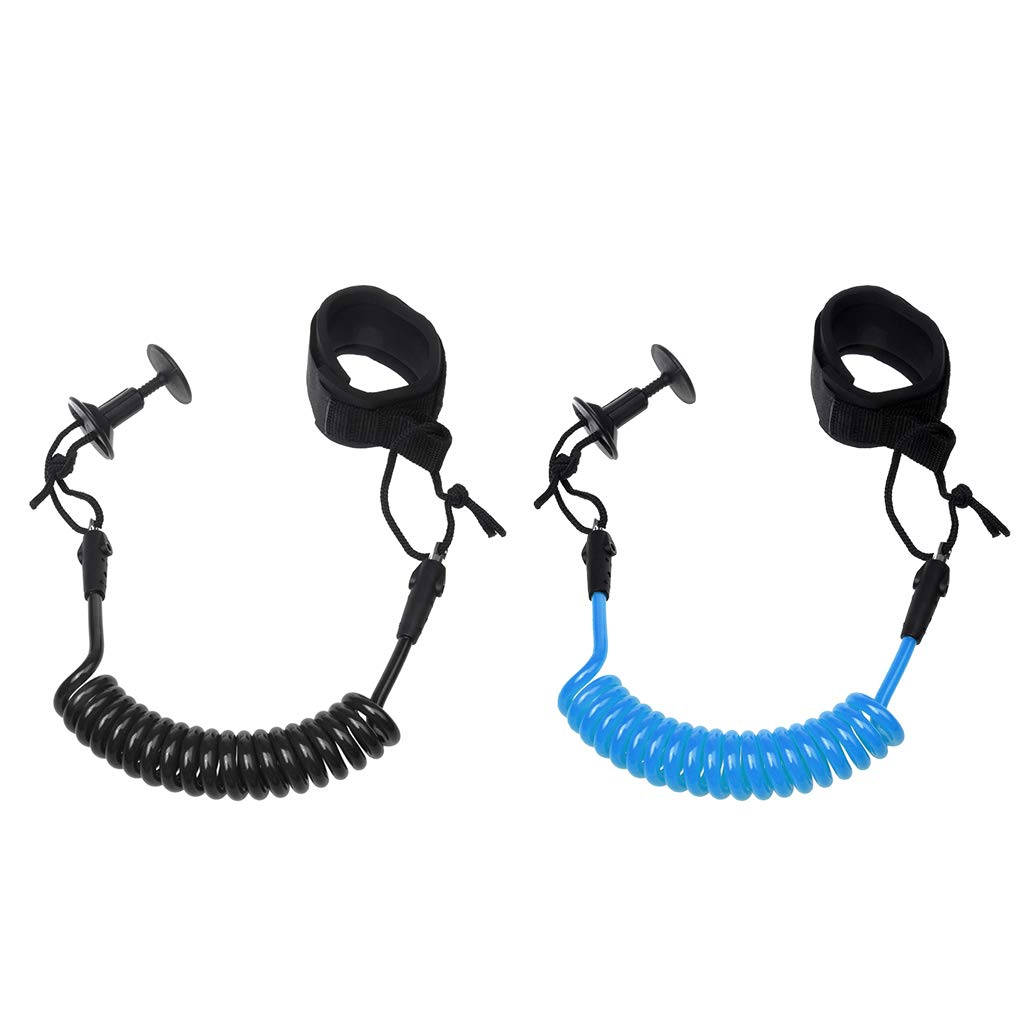 SM SunniMix Pack of 2 Portable Bodyboard Coil Leash Wrist Leash Surfing Accessories Easy to Use