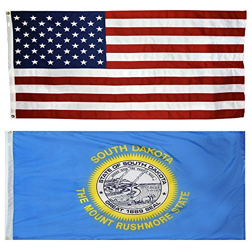 US Flag with South Dakota State Flag 3 x 5 - 100% American Made - Nylon