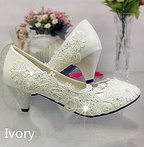 fashion Lace white ivory crystal Wedding shoes Bridal flats low high heel pump