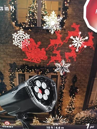 LED Projection Plus Whirl-a-Motion Santa, Sleigh, Snowflakes Indoor Outdoor Stake Light