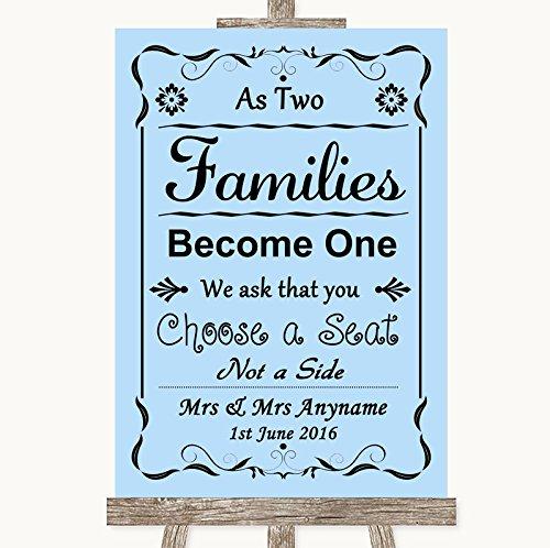 Letrero de boda azul con texto en inglés As Families Become ...