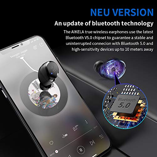 Wireless Earbuds, AIKELA Bluetooth Wireless Stereo Headphones Bluetooth 5.0 in-Ear Earbuds with 3000mAh Charging Case, IPX7 Waterproof Sport Wireless Earphones, Built-in Mic for iOS and Android Device