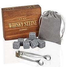 GOURMEO piedras para whisky (9 unidades) de esteatita natural, cubitos de hielo reutilizables, piedras de whisky, piedras para enfriar