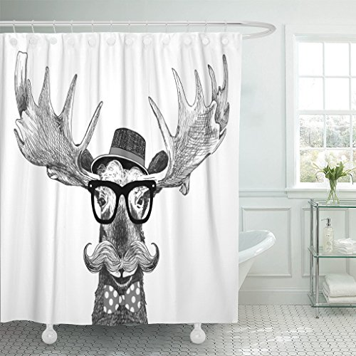 Cartoon Moose - VaryHome Shower Curtain Hipster Glasses on Moose with Hat Big Handlebar Mustache and Polka Dot Bow Tie Cartoon Animal Statement Waterproof Polyester Fabric 72 x 72 inches Set with Hooks