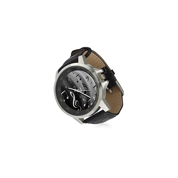 Amazon.com: Special Design Fashionable Music Notes Custom Unisex Stainless Steel Leather Strap Watch Metal Case, Tempered Glass, Black Leather Band: ...