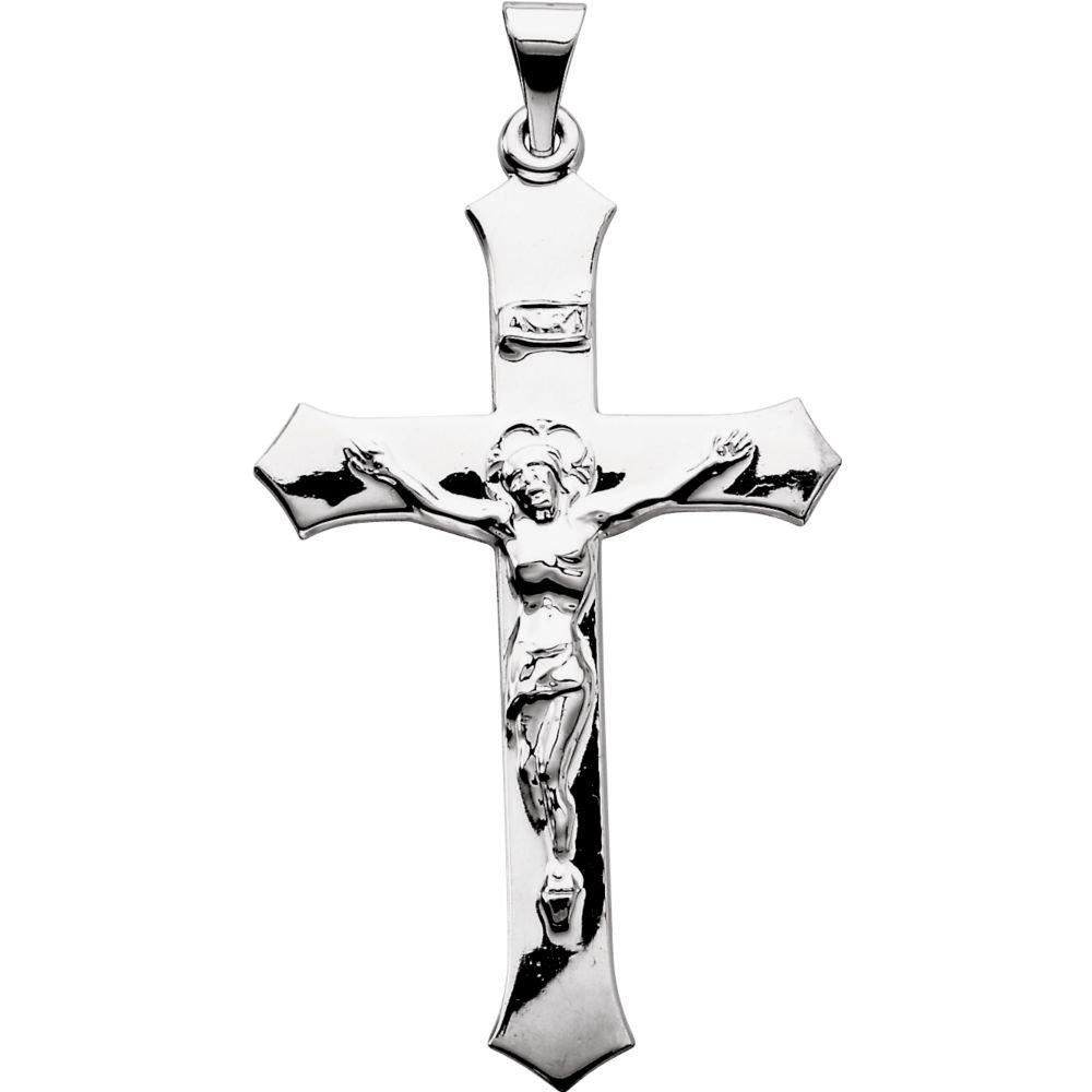 DiamondJewelryNY Sterling Silver 47.3x25.5mm Crucifix Pendant