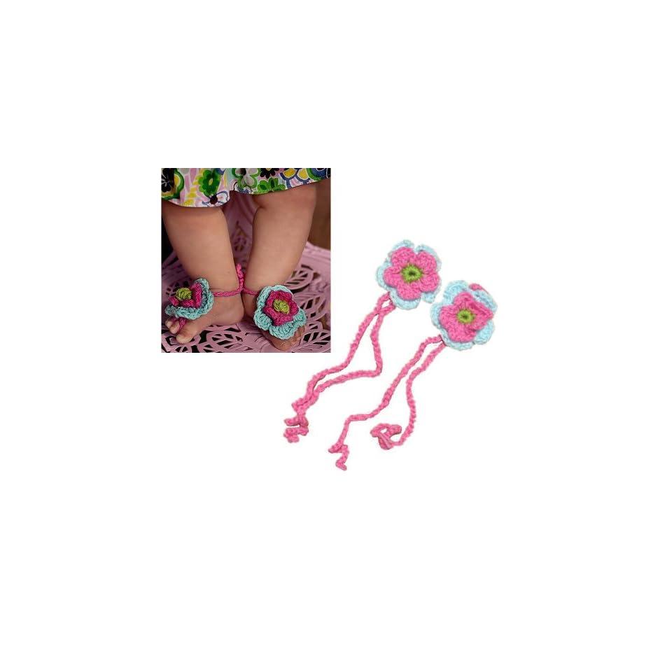AllHeartDesires 1 Pair Newborn Baby Girl Boy Infant Crochet Barefoot Sandals Flower Footwear Shoes Photo Prop Hot Pink&Blue+Free Gift,Lace Doilies,Random Colors Shoes