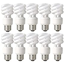 TCP 68914DLB10 CFL Mini Spring A Lamp - 60 Watt Equivalent (only 14W used) Daylight (5000K) Spiral Light Bulb - 10 pack