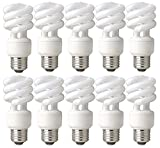 TCP 60 Watt Equivalent CFL Mini Spring A Lamp (only 14W used) Daylight (5000K) Spiral Light Bulb (10 Pack)