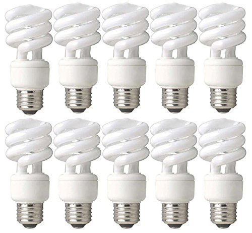 TCP 60W Equivalent CFL Mini Spring A Lamp, Daylight (5000K) Spiral Light Bulb (10 Pack) by TCP