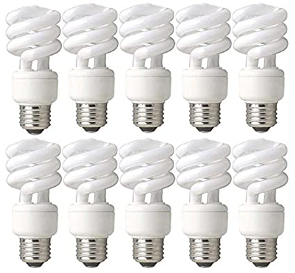 TCP 60W Equivalent CFL Mini Spring A Lamp, Daylight (5000K) Spiral ...