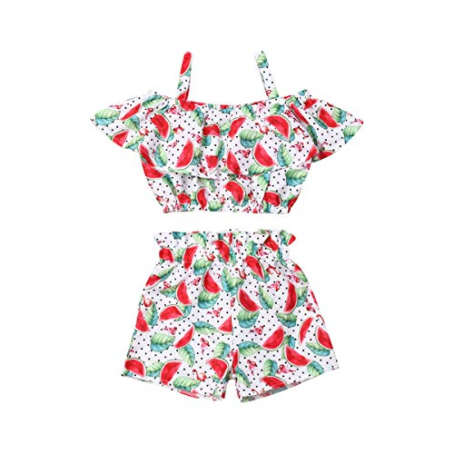 Toddler Kids Baby Girl Floral Halter Ruffled Outfits Clothes Tops+Shorts 2PCS Set (4-5 Years, Watermelon) ()