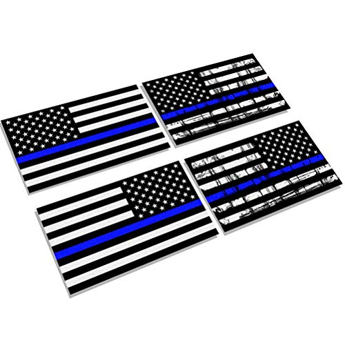(Creatrill Reflective Thin Blue Line Decal Matte Black –Normal & Tattered 2 Pairs 3x5 in. American USA Flag Stickers for Cars, Trucks, Hard Hat, Support Police and Law Enforcement Officers)