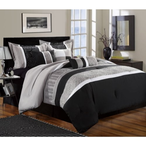 Perfect Home West Coast Black/Gray Queen Size 12-piece Comfo
